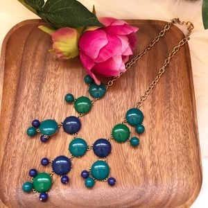 Ily Couture green blue bubble statement necklace